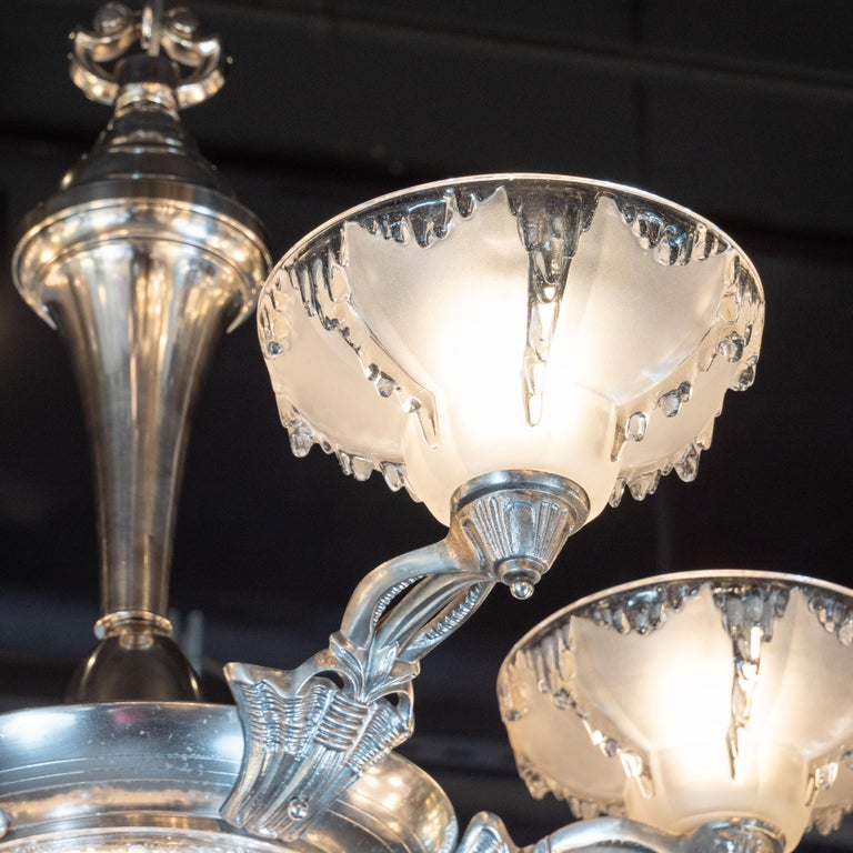 1930s Art Deco Frosted Glass Chandelier with Silvered Bronze Fittings, Ezan & Petitot For Sale