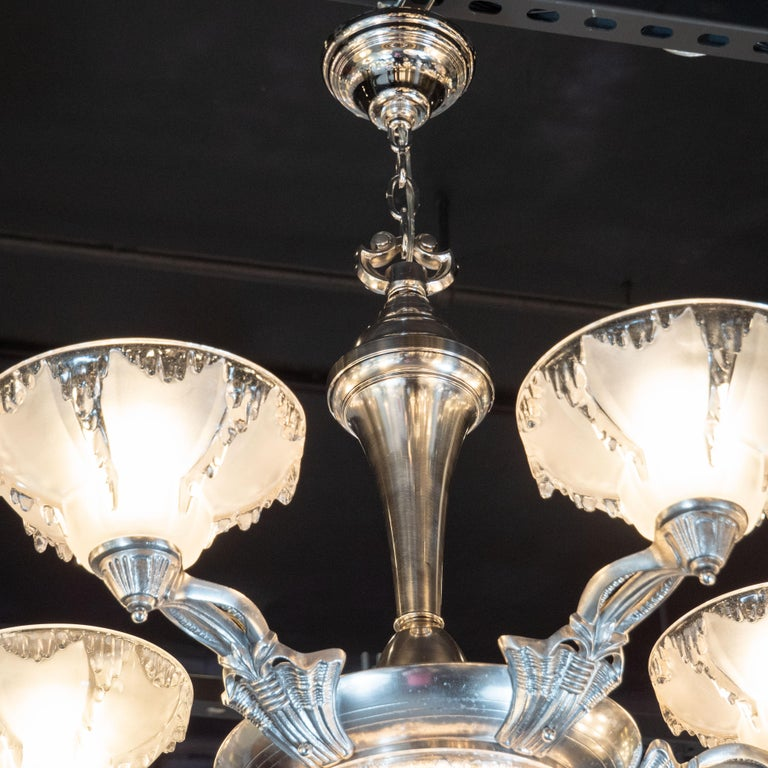 Art Deco Frosted Glass Chandelier with Silvered Bronze Fittings, Ezan & Petitot For Sale 1