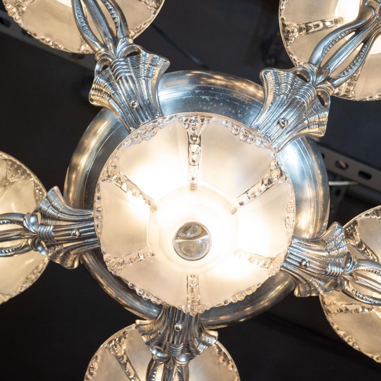 Art Deco Frosted Glass Chandelier with Silvered Bronze Fittings, Ezan & Petitot For Sale 3