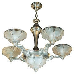 Art Deco Frosted Glass Chandelier with Silvered Bronze Fittings, Ezan & Petitot