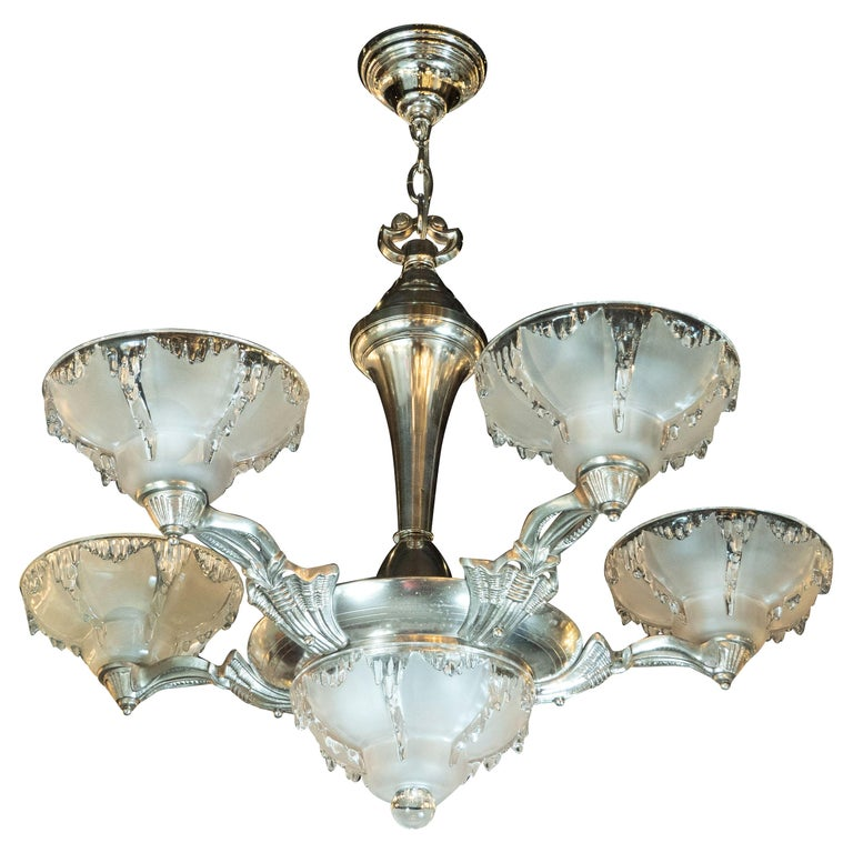 Art Deco Frosted Glass Chandelier with Silvered Bronze Fittings, Ezan & Petitot For Sale