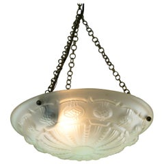 Art Deco Frosted Glass Pendant