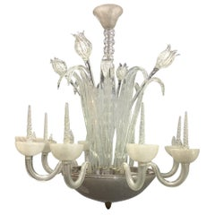 Art Deco Frosted Hand Blown Glass Eight Armed Murano Chandelier