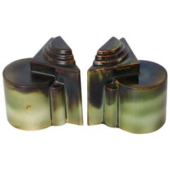 Art Deco Gale Turnbull for Leigh Potters Bookends, circa 1929, Leigh Art Ware
