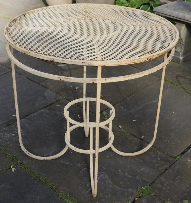 Metal Art Deco Garden Patio Center Table by Woodard For Sale