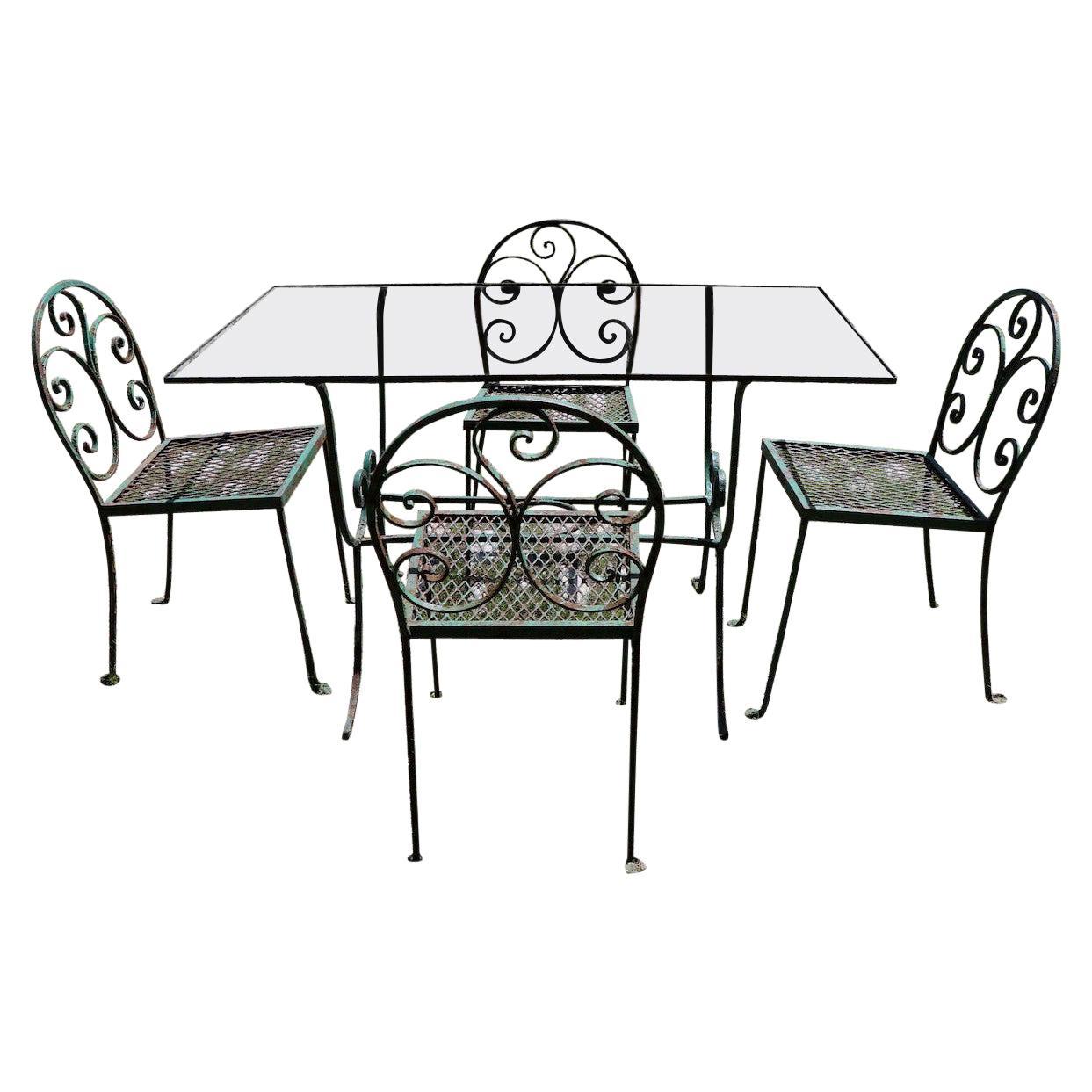 Art Deco Garden Patio Dining Set in the Style of Salterini