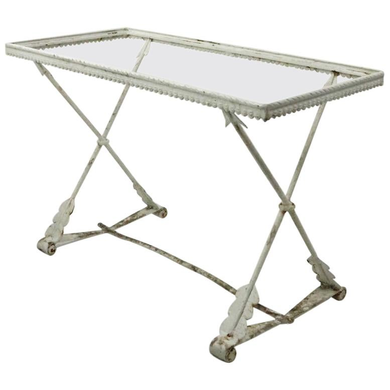 Art Deco Garden Patio Table with Crossed Arrow Legs