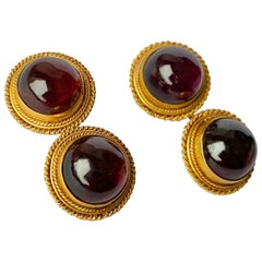 Art Deco Garnet and 18 Carat Gold Cufflinks