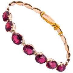 Art Deco Garnet and 9 Carat Gold Bracelet