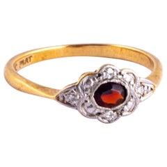 Art Deco Garnet and Diamond 9 Carat Gold Panel Ring