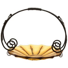 Art Deco Gateau Set, Pressed Glass Dish with Handle/Carrier in Wrought Iron