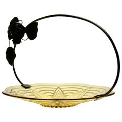 Art Deco Gateau Set, Pressed Glass Dish with Handle or Carrier in Wrought Iron