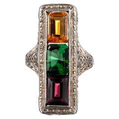 Art Deco Gemstone Plaque Ring