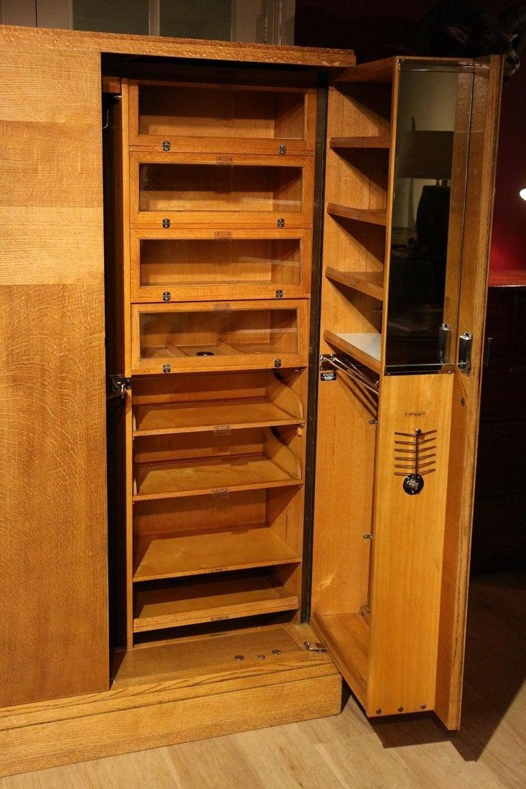 European Art Deco Gentlemen Oak Compactom Wardrobe For Sale