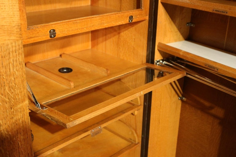 Art Deco Gentlemen Oak Compactom Wardrobe For Sale 1