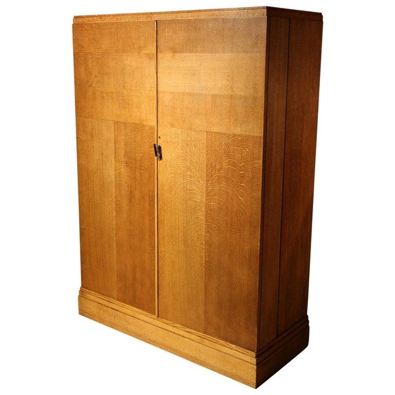 Art Deco Gentlemen Oak Compactom Wardrobe For Sale