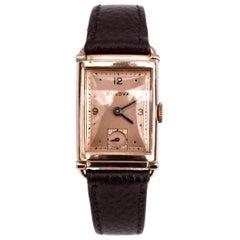 Art Deco Gents 14k Rose Gold Watch, Manual, Newly Serviced by Bulova, c1948
