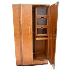 Art Deco Gents Blonde Two-Door Maple Wardrobe, circa 1930