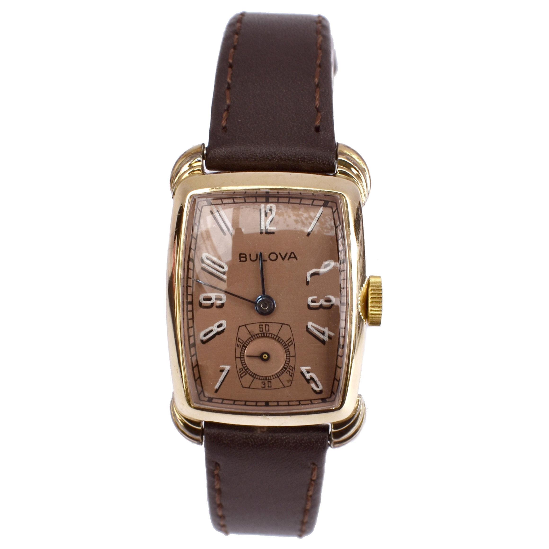 Art Deco Gents Bulova Senator Watch, 14k Yellow Gold, Newly Serviced, c1942