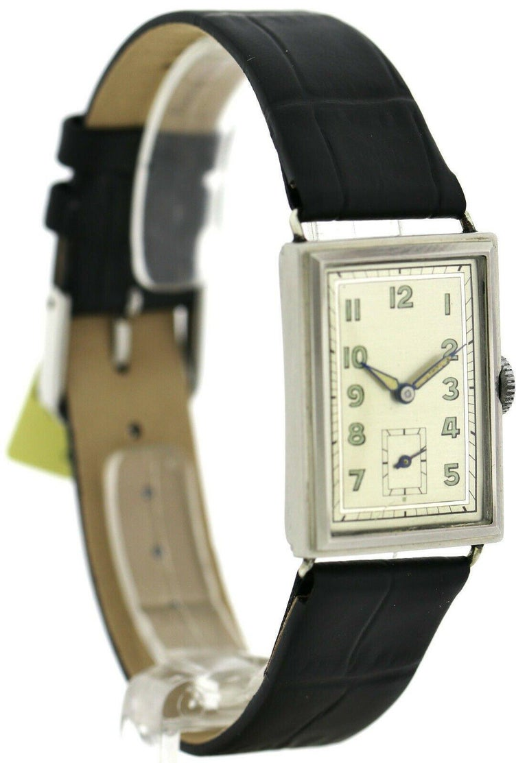 Art Deco Gents Chrome Tank Wristwatch, Never Used, Newly Serviced, 1930 For Sale 6