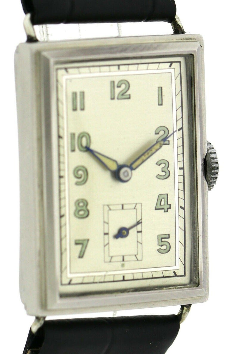 Art Deco Gents Chrome Tank Wristwatch, Never Used, Newly Serviced, 1930 For Sale 4