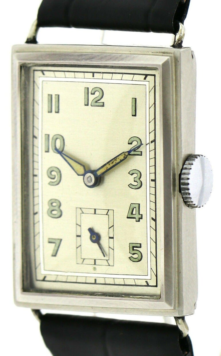 Art Deco Gents Chrome Tank Wristwatch, Never Used, Newly Serviced, 1930 For Sale 5