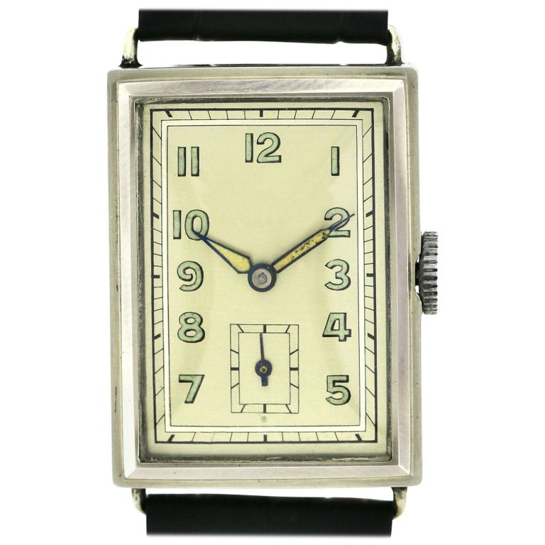Art Deco Gents Chrome Tank Wristwatch, Never Used, Newly Serviced, 1930 For Sale