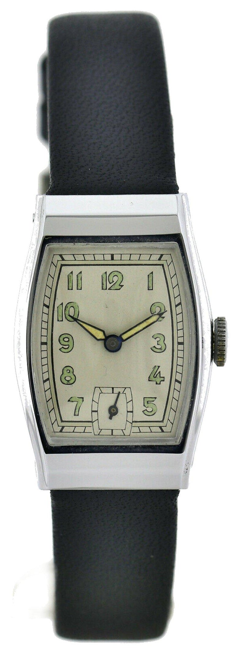 Art Deco Gents Chrome Wristwatch Old Stock, Never Worn, Newly Serviced, 1930 In Excellent Condition For Sale In Westward ho, GB