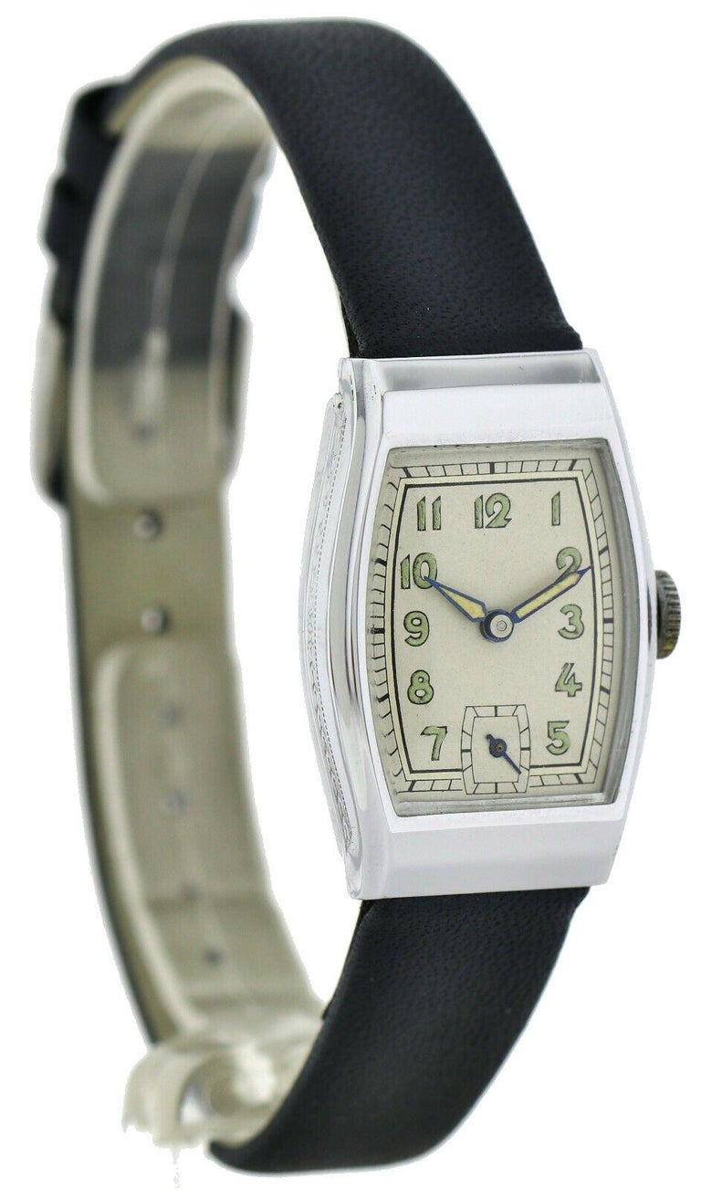 Men's Art Deco Gents Chrome Wristwatch Old Stock, Never Worn, Newly Serviced, 1930 For Sale