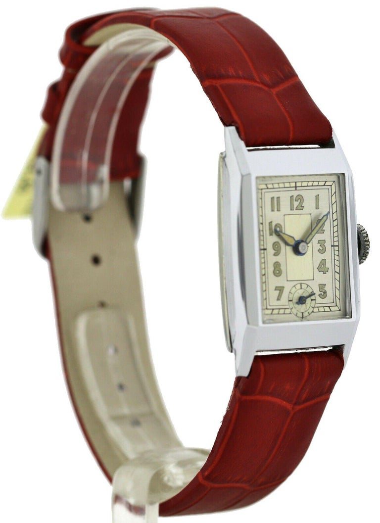 Art Deco Gents Chrome Wristwatch Old Stock, Never Worn, Newly Serviced, 1930 For Sale 1