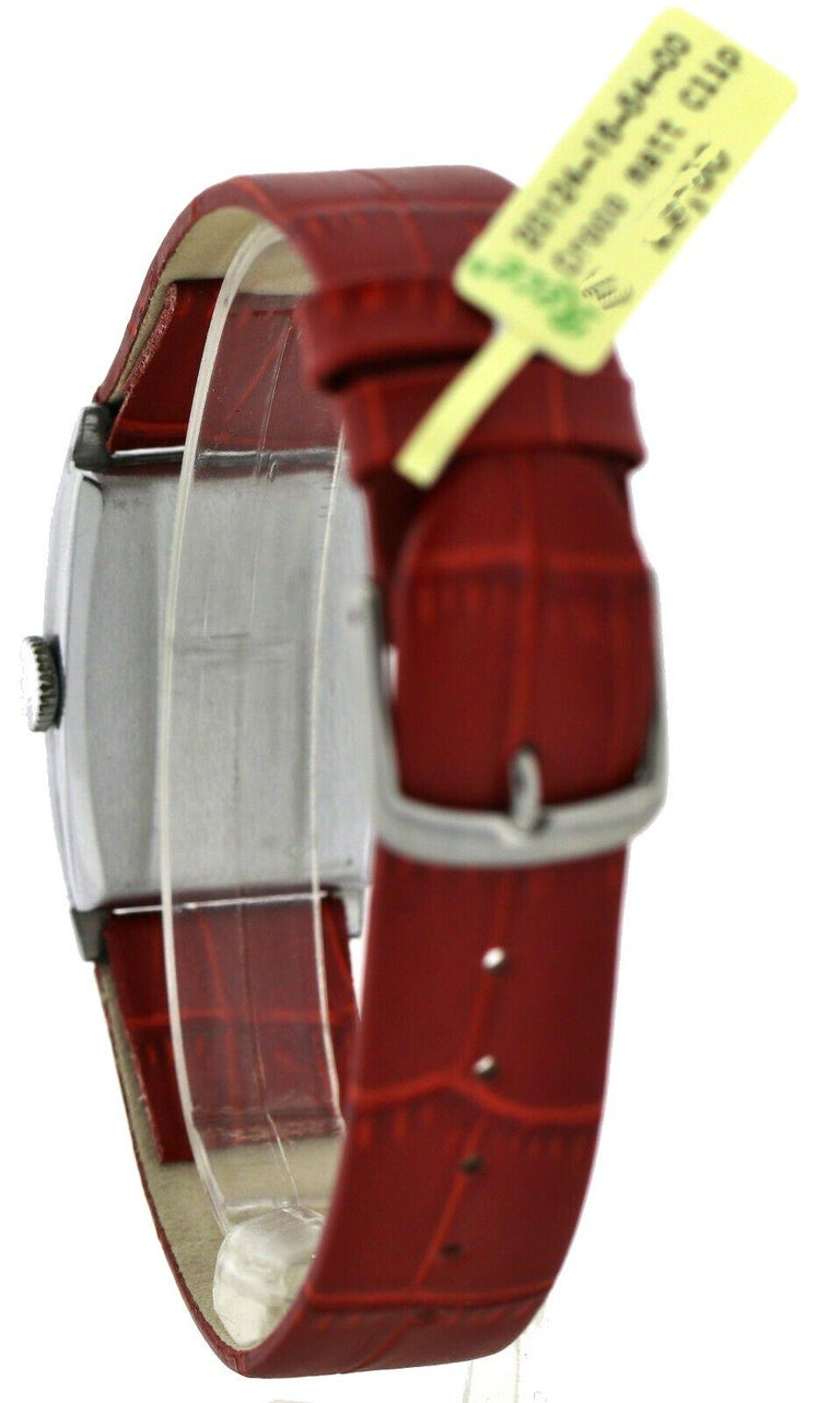 Art Deco Gents Chrome Wristwatch Old Stock, Never Worn, Newly Serviced, 1930 For Sale 2