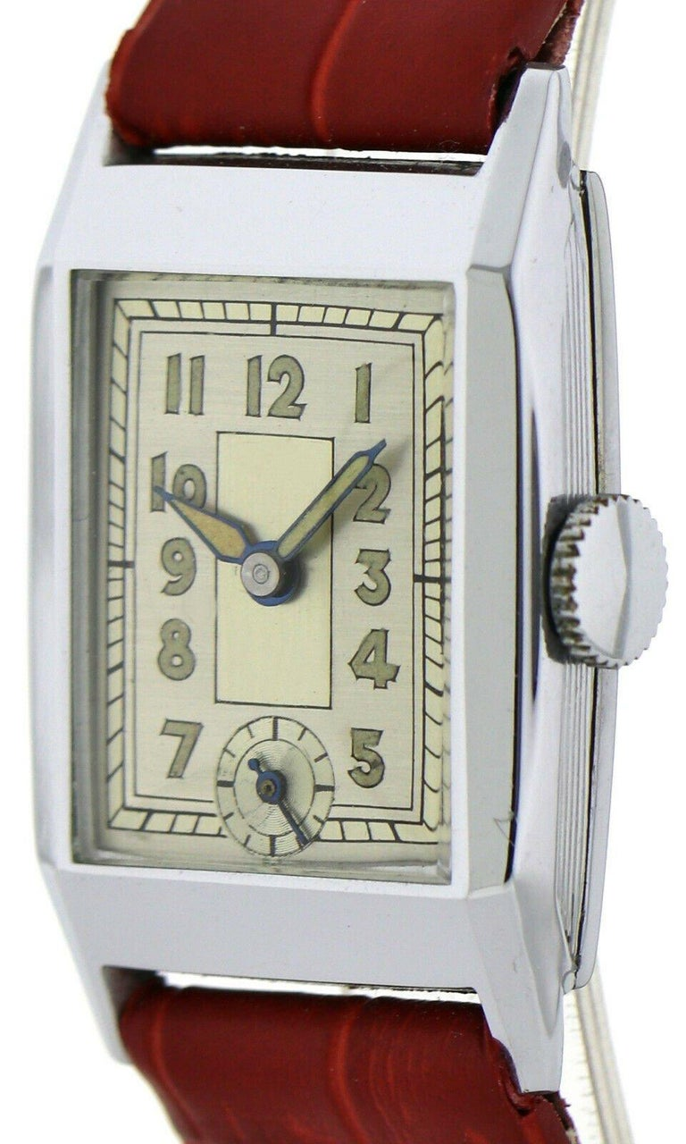 Art Deco Gents Chrome Wristwatch Old Stock, Never Worn, Newly Serviced, 1930 For Sale 4