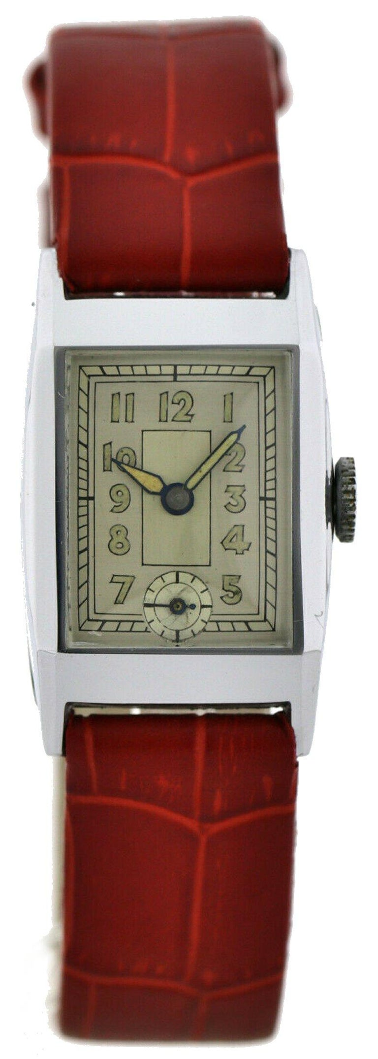 Art Deco Gents Chrome Wristwatch Old Stock, Never Worn, Newly Serviced, 1930 For Sale 5