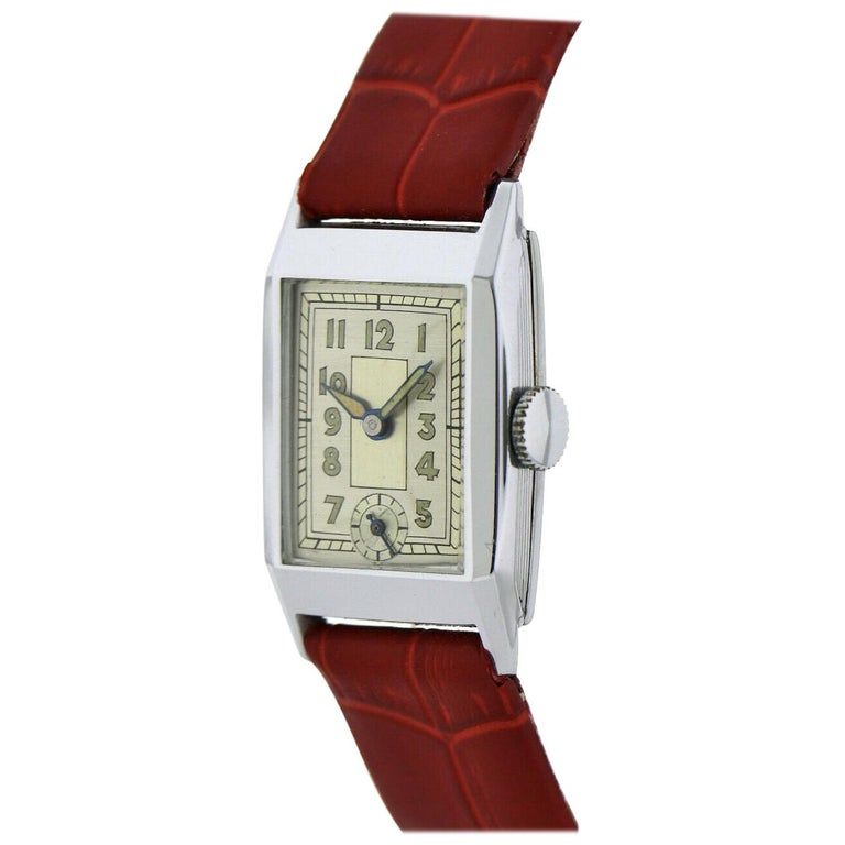 Art Deco Gents Chrome Wristwatch Old Stock, Never Worn, Newly Serviced, 1930 For Sale