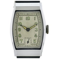 Art Deco Gents Chrome Wristwatch Old Stock, Never Worn, Newly Serviced, 1930