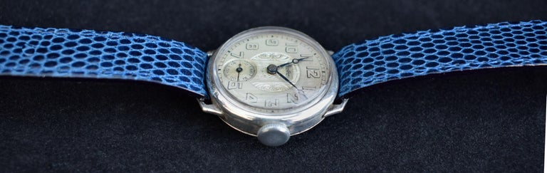 Art Deco Gents Manual Silver Wristwatch by Bedford, circa 1929 In Good Condition For Sale In Westward ho, GB