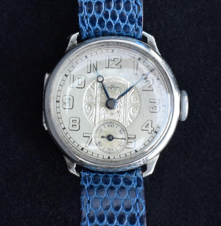 Men's Art Deco Gents Manual Silver Wristwatch by Bedford, circa 1929 For Sale