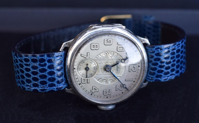 Art Deco Gents Manual Silver Wristwatch by Bedford, circa 1929 For Sale 1
