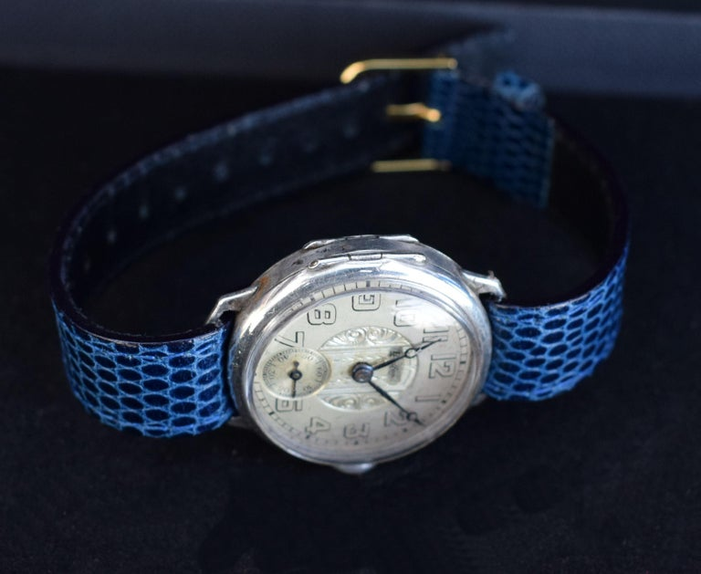 Art Deco Gents Manual Silver Wristwatch by Bedford, circa 1929 For Sale 2