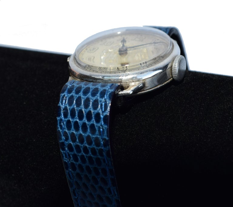 Art Deco Gents Manual Silver Wristwatch by Bedford, circa 1929 For Sale 3