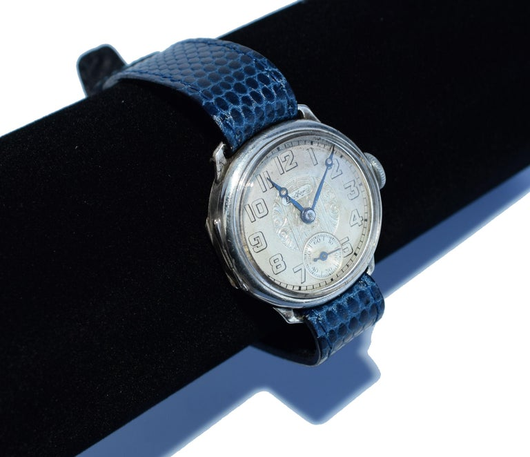 Art Deco Gents Manual Silver Wristwatch by Bedford, circa 1929 For Sale 4