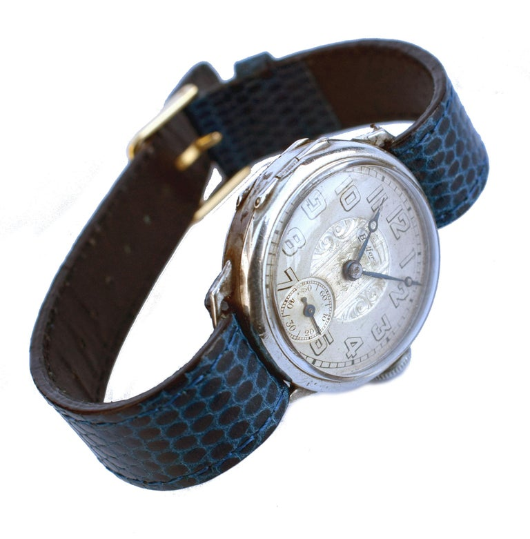 Art Deco Gents Manual Silver Wristwatch by Bedford, circa 1929 For Sale 5