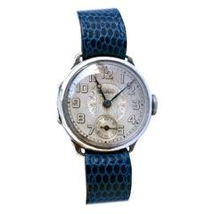 Art Deco Gents Manual Silver Wristwatch by Bedford, circa 1929