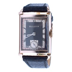 Art Deco Gents President Wristwatch 14k Rose GF, 21 Jewels, by Bulova, c1942