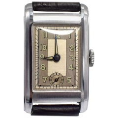 Art Deco Gents Streamline Chrome Wristwatch, Never Used, Newly Serviced, c 1930