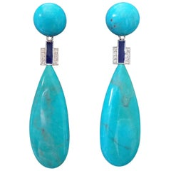 Art Deco Style Genuine Turquoise Gold Diamonds Blue Enamel Drop Earrings