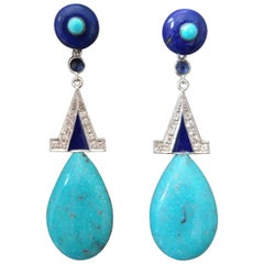 Art Deco Genuine Turquoise Lapis Lazuli Gold Diamonds Blue Enamel Drop Earrings