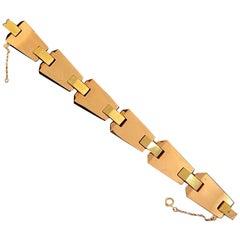Art Deco Geometric Bracelet 19.2 Karat Bicolor Rose Yellow Gold Provenance 1930s