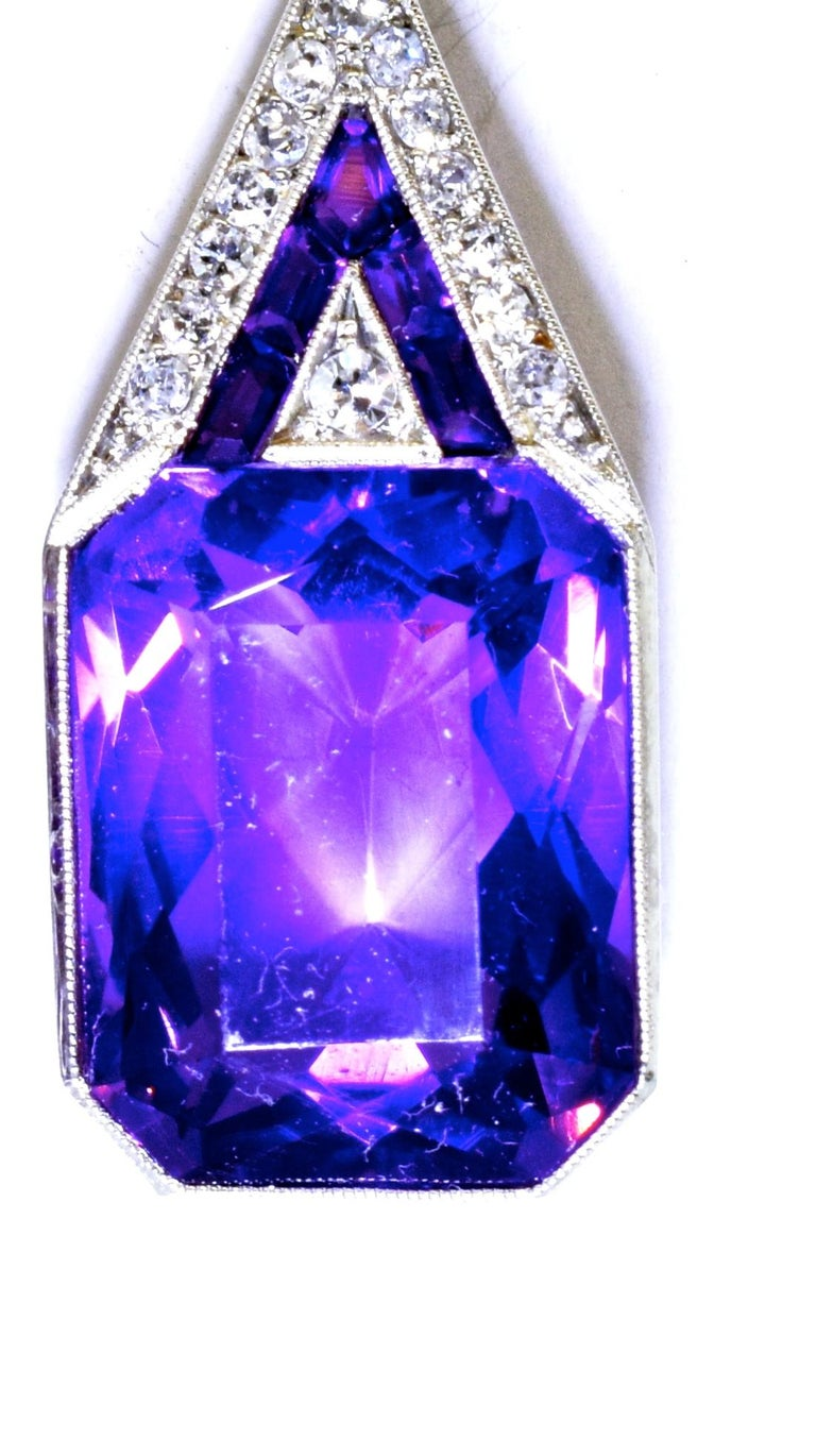 Women's or Men's Art Deco Geometric Diamond and Amethyst Earrings, circa 1930 For Sale