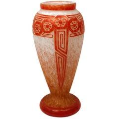 Art Deco Geometric Glass Vase by Le Verre Francais, Schneider